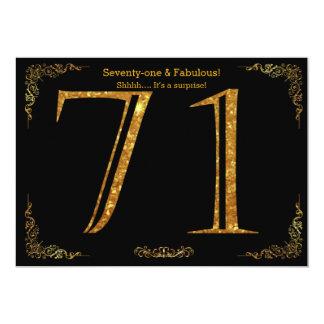 71. Geburtstags-Party, Gatsby styl, schwarzer 12,7 X 17,8 Cm Einladungskarte