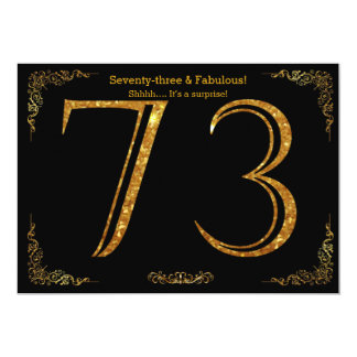 73. Geburtstags-Party, Gatsby styl, schwarzer 12,7 X 17,8 Cm Einladungskarte
