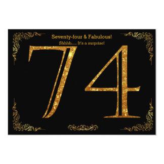 74. Geburtstags-Party, Gatsby styl, schwarzer 12,7 X 17,8 Cm Einladungskarte