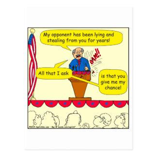751 geben mir eine Möglichkeit politischer Cartoon Postkarte