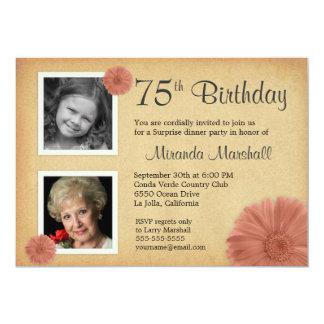 75. Foto des Geburtstags-Party-lädt rustikales 12,7 X 17,8 Cm Einladungskarte