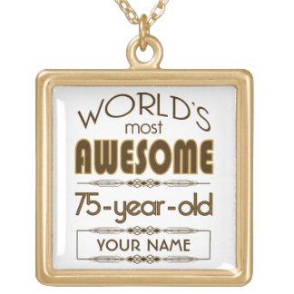 75. Geburtstags-Feier-Welt gut fabelhaft Halskette Mit Quadratischem Anhänger