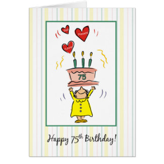 75. Geburtstags-Kuchen und Herzen für Frau Karte