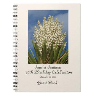 75. Geburtstags-Party-Gast-Buch, blühender Yucca Spiral Notizblock