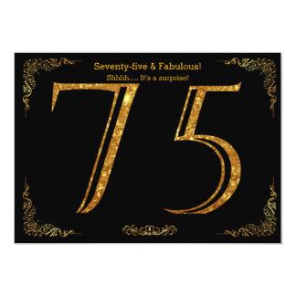 75. Geburtstags-Party, Gatsby styl, schwarzer 12,7 X 17,8 Cm Einladungskarte