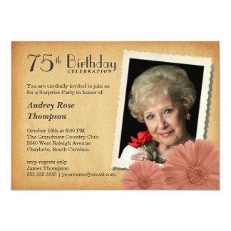 75. Geburtstags-Vintage 12,7 X 17,8 Cm Einladungskarte