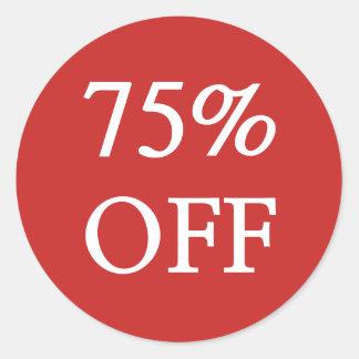 75% WEG von den Verkaufs-Aufklebern Runder Aufkleber