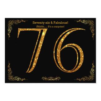 76. Geburtstags-Party, Gatsby styl, schwarzer 12,7 X 17,8 Cm Einladungskarte