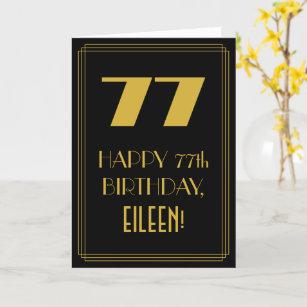 """77. Geburtstag ~ Art Deco  Look """"77"""" & Name Karte"""