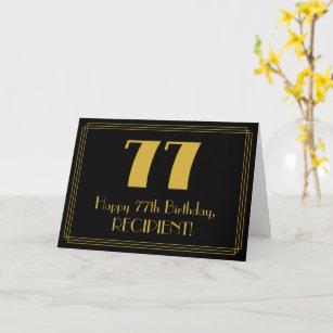 """77. Geburtstag: Art Deco  Look """"77"""" + Name Karte"""