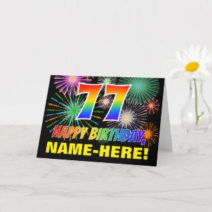 77. Geburtstag: Bold, Fun, Feuerwerke, Regenbogen  Karte