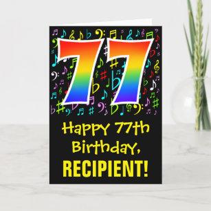 77. Geburtstag: Farbige Musiksymbole + Regenbogen  Karte