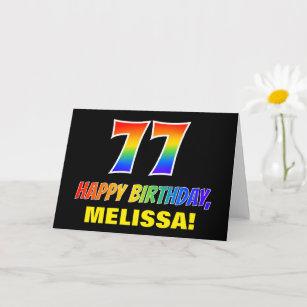 77. Geburtstag: kühl, Spaß, einfach, Regenbogen  Karte