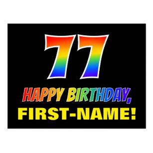 77. Geburtstag: kühl, Spaß, einfach, Regenbogen  Postkarte