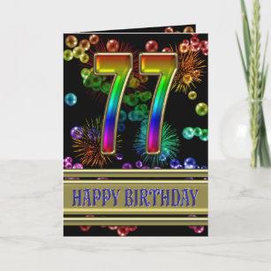 77. Geburtstag mit Regenbogenblasen und Karte