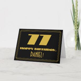 """77. Geburtstag: Name + Art Deco  Look """"77"""" Karte"""