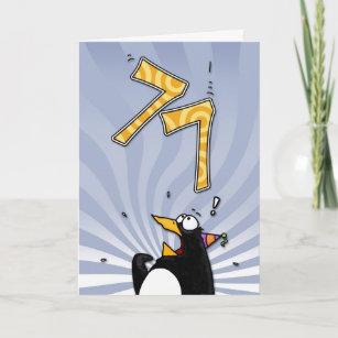 77. Geburtstag - Pinguin-Überraschungs-Karte Karte