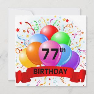 77. Geburtstag steigt Fahne im Ballon auf Karte