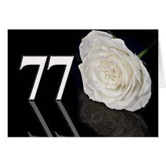 77. Geburtstags-Karte mit einer klassischen weißen Grußkarte
