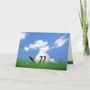 77. Geburtstagsgolfball im Gras Karte