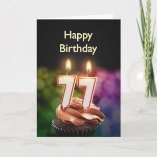 77. Geburtstagskarte mit Kerzen Karte