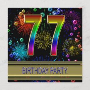 77. Geburtstagsparty Einladung mit Blasen