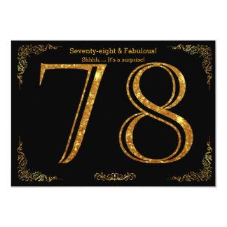 78. Geburtstags-Party, Gatsby styl, schwarzer 12,7 X 17,8 Cm Einladungskarte