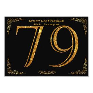 79. Geburtstags-Party, Gatsby styl, schwarzer 12,7 X 17,8 Cm Einladungskarte