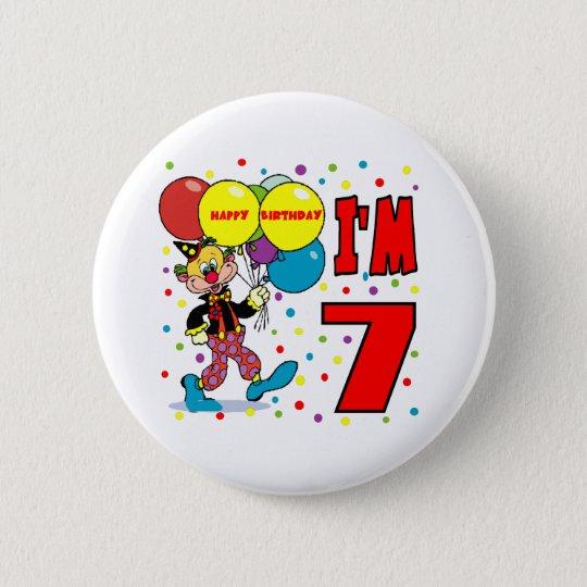 7. Geburtstags-Clown-Geburtstag Runder Button 5,7 Cm