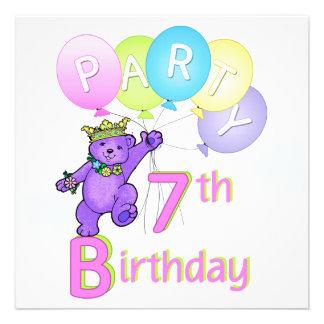 7. Geburtstags-Party-Prinzessin Bear Balloons Einladungskarten