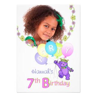 7. Geburtstags-Party-Prinzessin Bear Custom Foto Personalisierte Ankündigungskarten