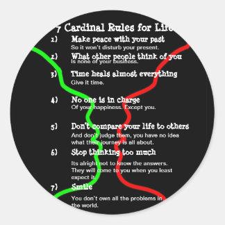 7 Kardinals-Regeln für das LEBEN Runder Aufkleber