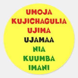 7 Prinzipien von Kwanzaa Runder Aufkleber
