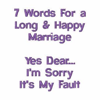 7 Wörter für eine lange u. glückliche Heirat Besticktes Polo