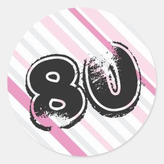 80. Geburtstag - 80 Jahre Bday ROSA Aufkleber