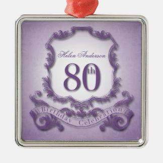 80. Geburtstags-Feier-personalisierte Verzierung Quadratisches Silberfarbenes Ornament
