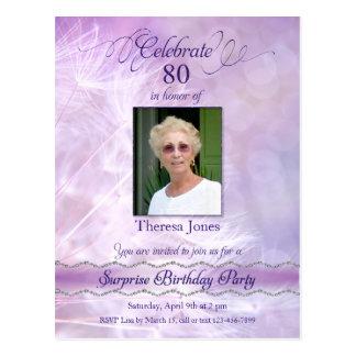 80. Geburtstags-Party Einladungs-Postkarte Postkarte