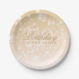 80. Geburtstags-Party-GoldBokeh Schein-Lichter Pappteller