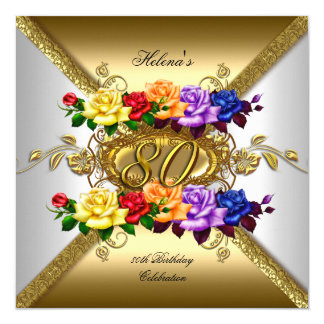 80. Geburtstags-Party-multi FarbgoldRosen Karte