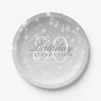 80. Geburtstags-Party-Silber Bokeh Schein-Lichter Pappteller