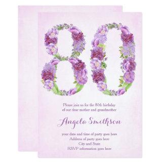 80. Geburtstagseinladungen für Dame, eightieth 12,7 X 17,8 Cm Einladungskarte