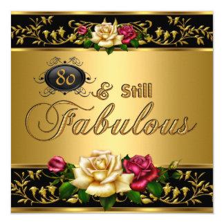 """80. """"noch fabelhaftes"""" Geburtstags-Rosen-Gold Quadratische 13,3 Cm Einladungskarte"""