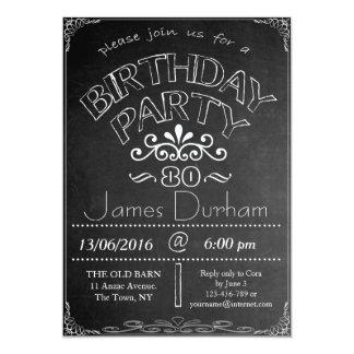 80. Tafel-Geburtstags-Feier-Einladung Karte