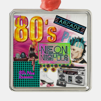 80er Collage Silbernes Ornament