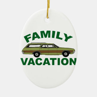 80er Familien-Ferien Ovales Keramik Ornament