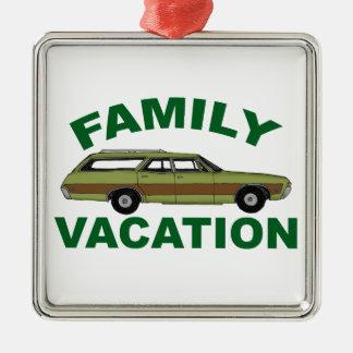 80er Familien-Ferien Quadratisches Silberfarbenes Ornament