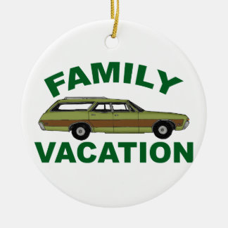 80er Familien-Ferien Rundes Keramik Ornament