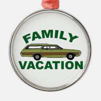 80er Familien-Ferien Rundes Silberfarbenes Ornament