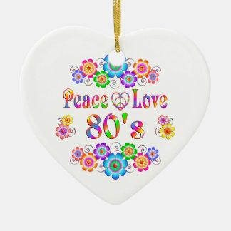 80er FriedensLiebe Keramik Herz-Ornament