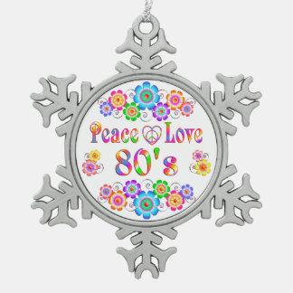 80er FriedensLiebe Schneeflocken Zinn-Ornament